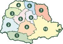 Mapa das Regionais Sindicais da FETAEP