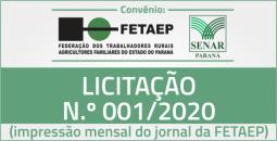 Ilustração em miniatura da página Licitação n.º 001/2020 - Convênio SENAR/FETAEP